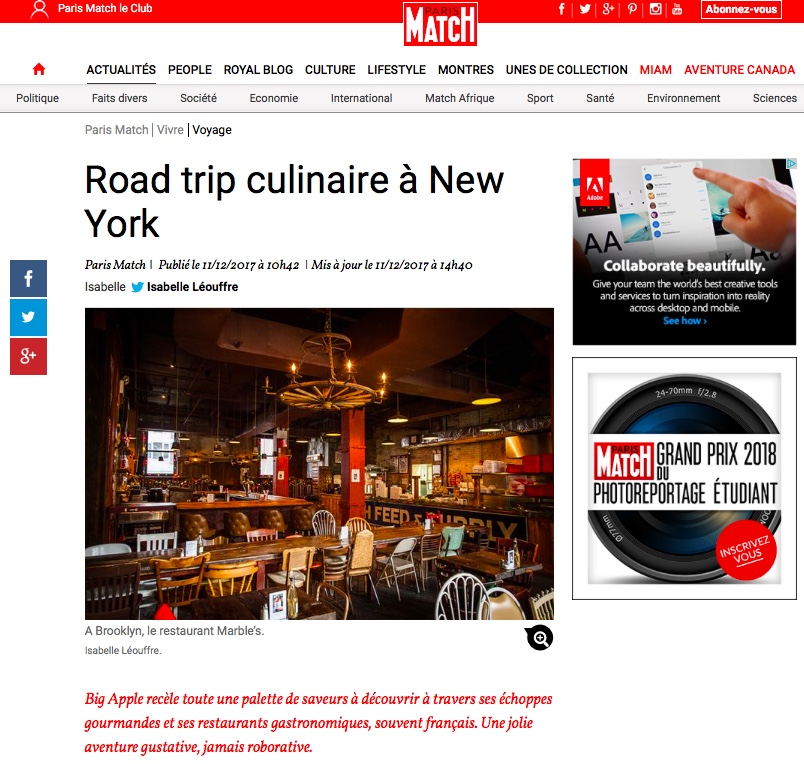New York Off Road est publié dans Paris Match : Road Trip culinaire à New York