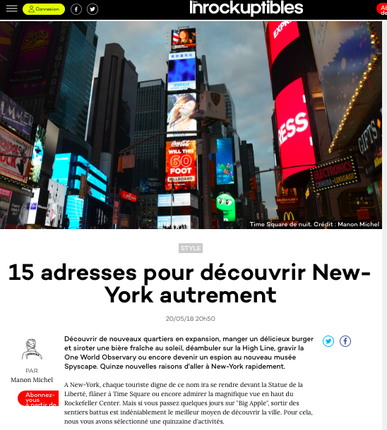 New York Off Road dans les Inrockuptibles