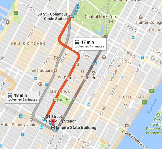 applications google maps voyage visite New York
